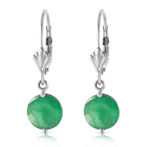 Galaxy Gold Products Jewelry - 14K. SOLID GOLD LEVERBACK EARRING WITH EMERALDS